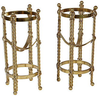 One Kings Lane Vintage Gilt Metal Wine Bottle Holders - Set of 2