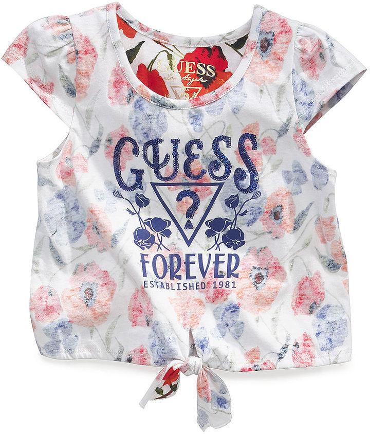 GUESS Shirt, Little Girls Reverse-Print Top