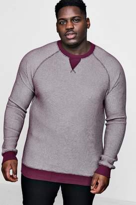 boohoo Big And Tall Waffle Knit Raglan Sweater