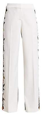 Oscar de la Renta Women's Half-&-Half Floral Virgin Wool Pants