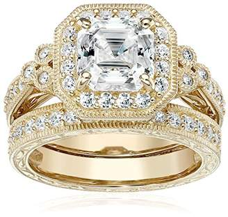 Swarovski Rose Gold Plated Sterling Silver Antique Ring set with Asscher-Cut Zirconia (4.5 cttw)