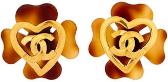 One Kings Lane Vintage Chanel Faux-Tortoise Logo Heart Earrings - Vintage Lux