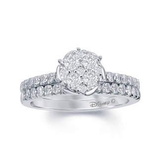 ENCHANTED FINE JEWELRY BY DISNEY Enchanted Disney Fine Jewelry 3/4 C.T. T.W. Genuine Diamond 14K White Gold Belle Rose Cup Bridal Set
