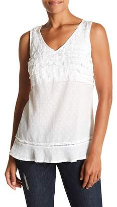 Vintage America Blues Carly V-Neck Ruffle Tank Top