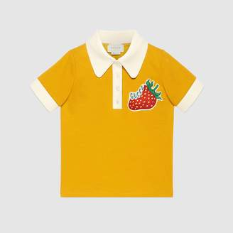 Gucci Children's jersey polo with strawberry