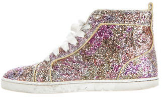 Christian Louboutin Glitter High-Top Sneakers $625 thestylecure.com