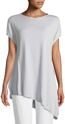 Eileen Fisher Sky Shimmer Silk Cap-Sleeve Asymmetric Tunic