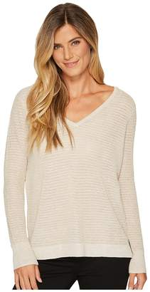 NYDJ Metallic Double V-Neck Sweater Women's Sweater