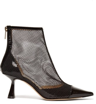 Jimmy Choo Kix 65 Mesh And Patent Leather Ankle Boots - Womens - Black
