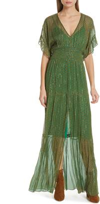 BA&SH Wanda Metallic Accent Maxi Dress