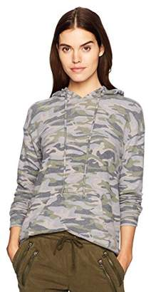 Michael Stars Women's Madison Brushed Camo Long Sleeve V-Neck Hoodie