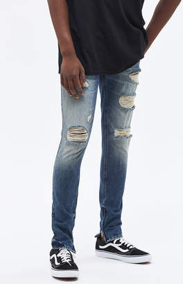 PacSun Stacked Skinny Ripped Zip Medium Jeans