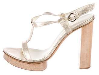 Bettye Muller Leather T-Strap Sandals