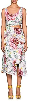 Prabal Gurung Women's Lawrence Floral Silk Cutaway Dress