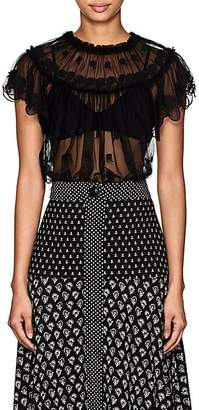 Ulla Johnson Women's Bisou Embroidered Tulle Top - Black