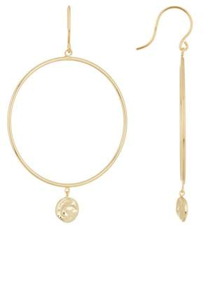 Argentovivo 18K Gold Plated Sterling Silver Hammered Disc Dangle Hoop Earrings