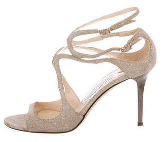 Jimmy Choo Canvas Round-Toe Sandals