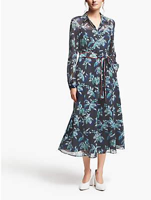 Marella Palm Print Belted Midi Dress, Midnight Blue