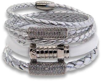 """Liza Schwartz Jewelry Silver Leather Wrap Bracelet """"Edge"""""""