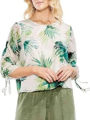 Vince Camuto Petite Tropic Heat Drawstring-Sleeve Blouse