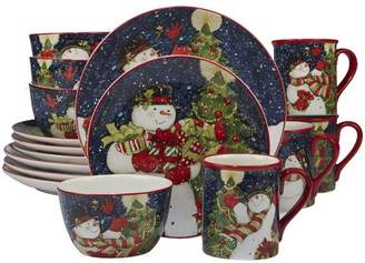 The Holiday Aisle Delilah Snowman 16 Piece Dinnerware Set, Service for 4
