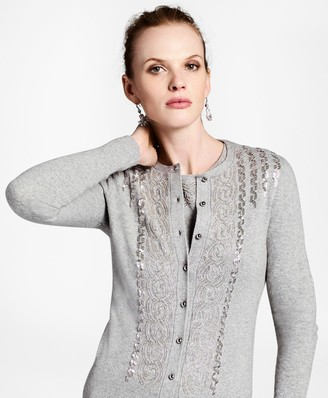 Brooks Brothers Wool-Cashmere-Blend Beaded Cardigan