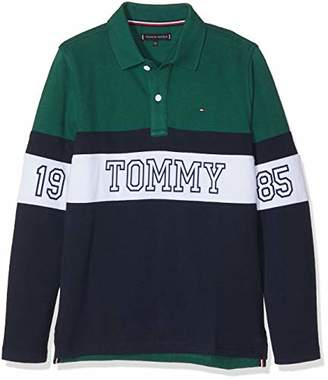Tommy Hilfiger Boy's Essential Panel Print Polo L/s Shirt,(Size: 10)