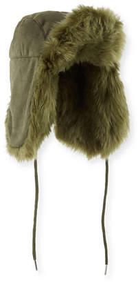 Charlotte Simone Fashion Helmet Trapper Hat w/ Faux Fur Lining