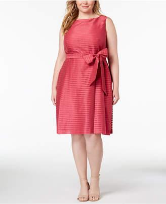 Anne Klein Plus Size Shadow-Striped Belted Fit & Flare Dress