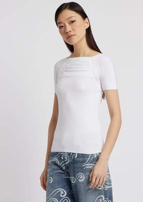 Emporio Armani Short-Sleeved Sweater In Stretch Jersey With Draped Folds