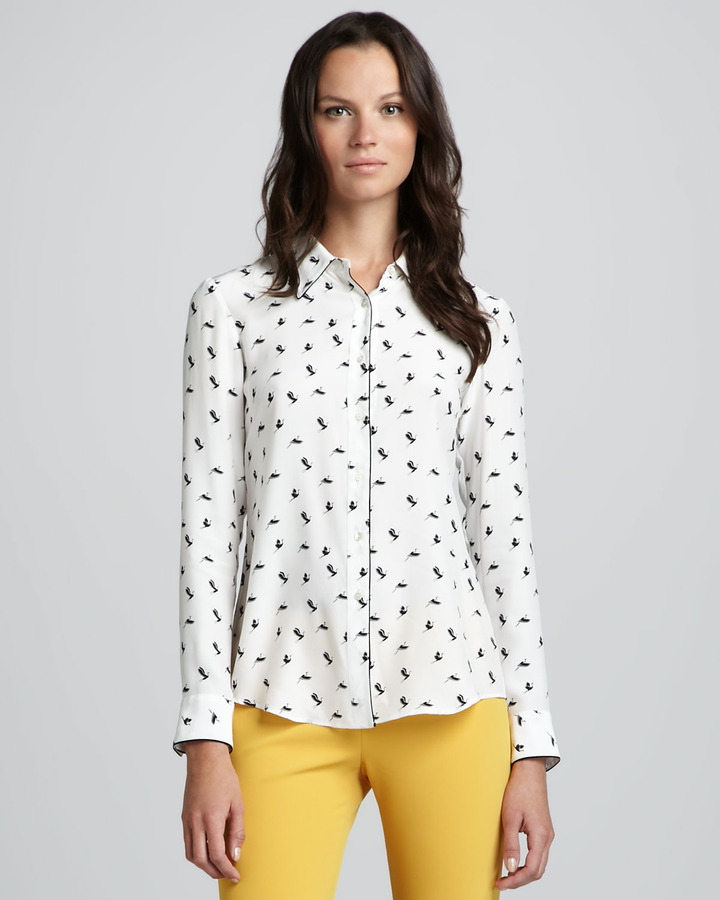 Theory Cully Egret Printed Blouse