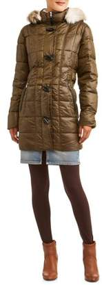 30 First Women's Toggle Puffer Jacket And Faux Fur Trim Hood