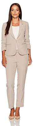 Tahari by Arthur S. Levine Women's Petite Size Stretch Crepe Pant Suit with Ruched Sleeves
