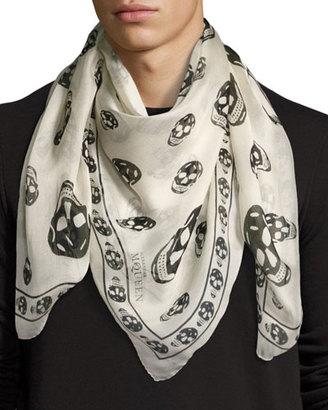 Alexander McQueen Men's Classic Silk Chiffon Skull Scarf $295 thestylecure.com