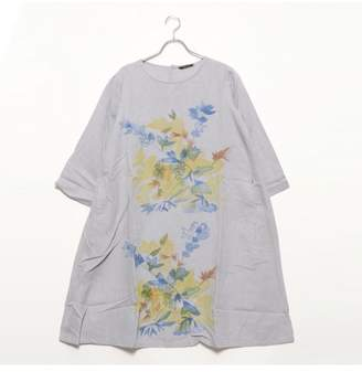 Kan-Kan LOCONDO カンカン KANKAN 手描きフラワープリントドレス (グレー)