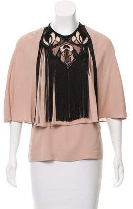 Yigal Azrouel Fringe-Accented Silk Top