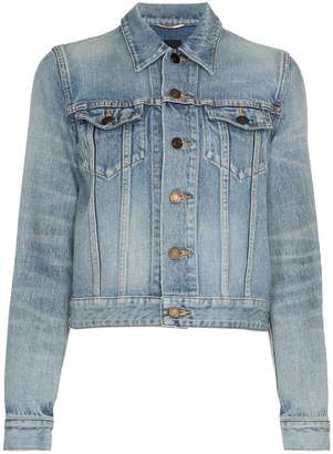 Saint Laurent button up cropped denim jacket