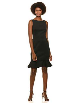 Calvin Klein Women's High Neck Sheath with V-Back and Flounce Hem Dress