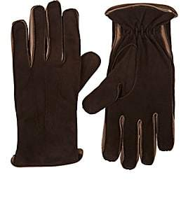 Barneys New York Men's Wool-Lined Suede Gloves-Brown