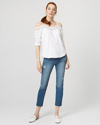Le Château Cotton & Lace Cold Shoulder Blouse