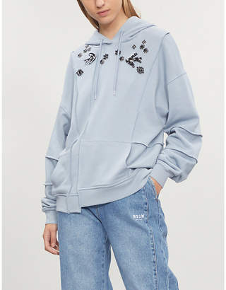 McQ Diamanté-embellished cotton-jersey hoody