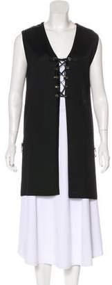St. John Lightweight Knit Plunging Neckline Cardigan