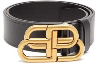 Balenciaga Bb Buckled Leather Belt - Womens - Black