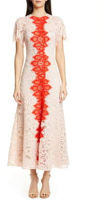 Lela Rose Flutter Sleeve Contrast Lace Maxi Dress
