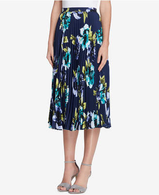 Tahari ASL Pleated Floral-Print Midi Skirt, Regular & Petite