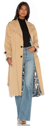 ANOUKI Sparkly Silver Double Sided Trench Coat