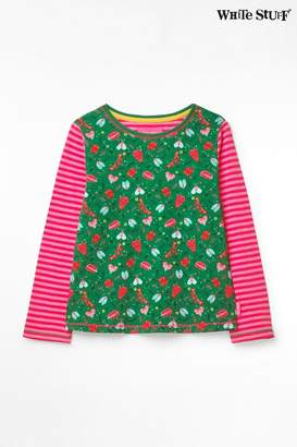 White Stuff Girls Green Kids Pretty Bugs Jersey T-Shirt - Green