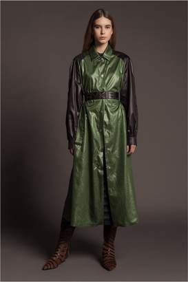 Sonia Rykiel Long Crumpled Technical Twill Coat