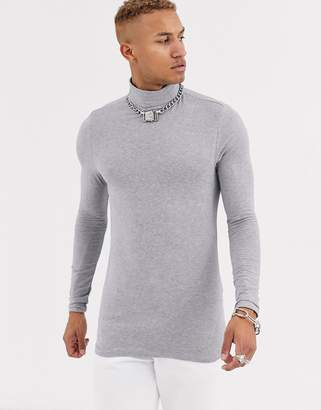 Asos Design DESIGN muscle fit long sleeve roll neck t-shirt with stretch in gray