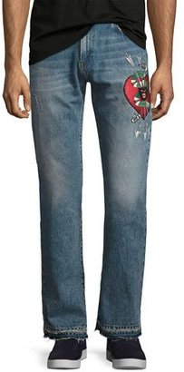 Gucci Denim Straight Pants w/Embroidery, Blue Stone Bleach Wash $1,150 thestylecure.com